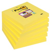 Post-it® Super Sticky Notes, farbig narzissengelb; L x B mm: 76 x 76; Block mit: 90 Blatt